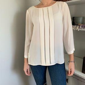 LOFT Ivory 3/4 Length Sleeve Blouse Size Small